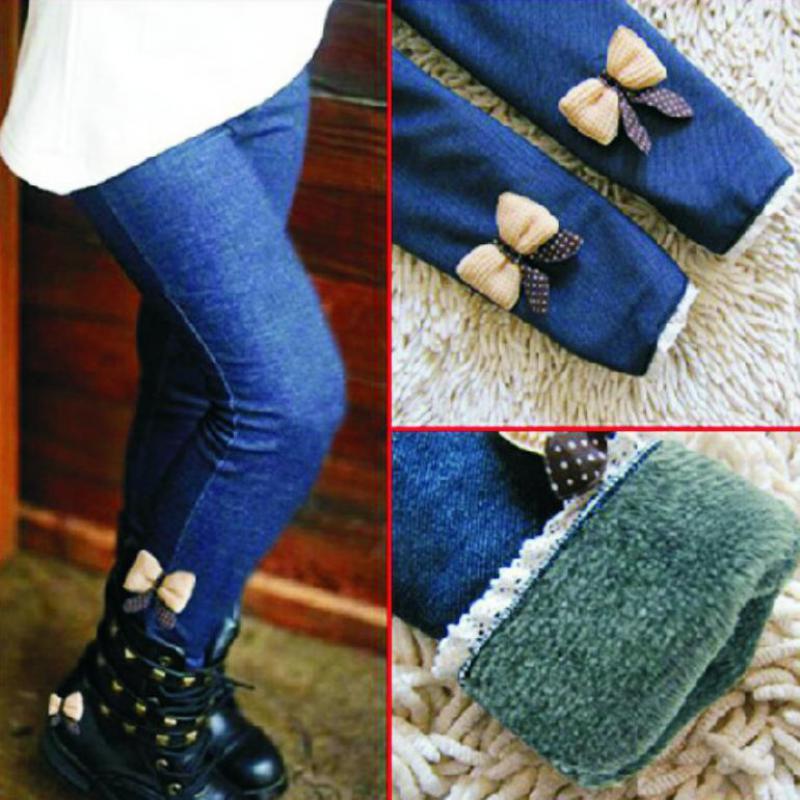 Retail hot sale girls jean bow pants cotton cashmere pants elastic waist girls legging warm pants winter spring child 1293(China (Mainland))