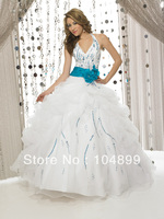 New HOT SALE fashion Allure Quinceanera Dress Q238 White/Turquoise Halter Quince Dress Evening dress