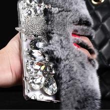 Samsung Galaxy J5 2016 Case Rabbit Hair Fur Fox Head Bling Diamond TPU S7 Edge S6 A3 A5 Cover - Best Accessory store