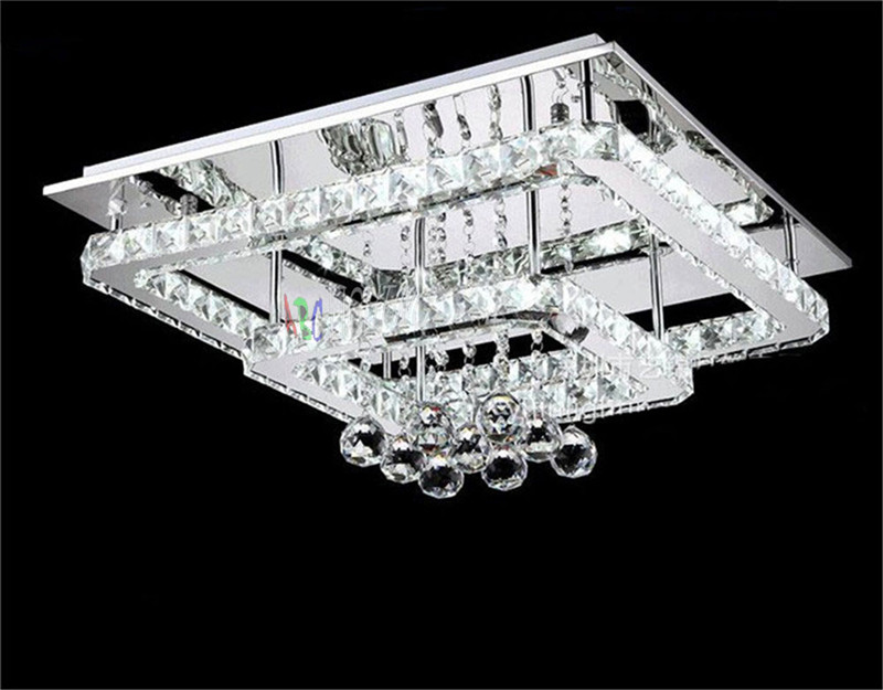 Modern Crystal Ceiling Lights Living Room luminarias para sala square led Crystal Ceiling Lamp Fixtures Bedroom remote control<br><br>Aliexpress