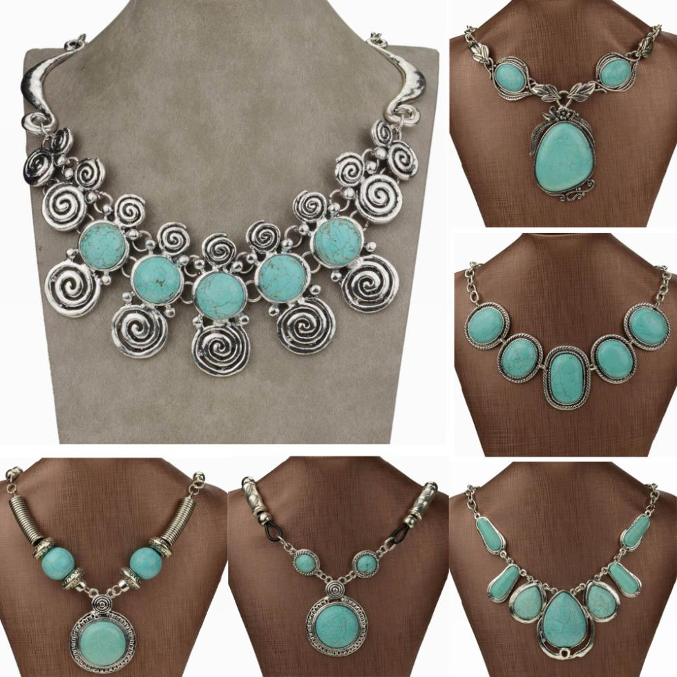 Vintage Round long necklaces pendants waterdrop Tibetan Silver Turquoise Necklaces Jewlery Statement Necklace