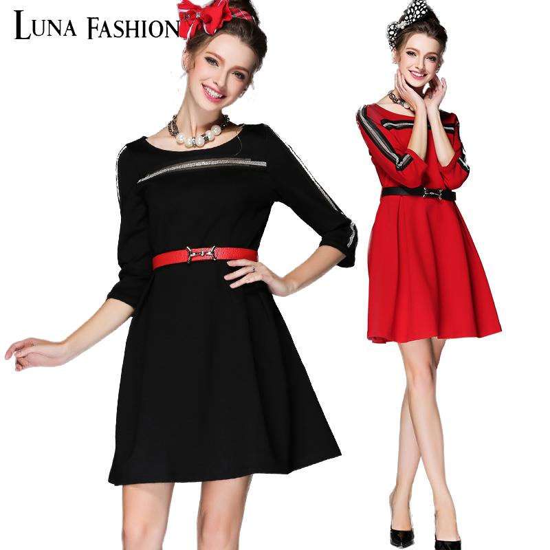 5XL plus size women clothing 4XL 3XL 2XL mavodovama woman dress winter 2015 autumn long sleeve lace patchwork black red