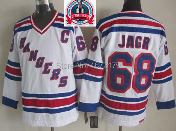 CHEAP 1994 STANLEY CUP CHAMPIONSHIP VINTAGE NEW YORK RANGERS #68 JAROMIR JAGR WHITE THROWBACK STITCHED MENS ICE HOCKEY JERSEYS
