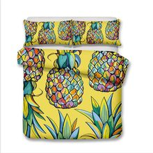 WAZIR 3d Pineapple Print Bedding set Watercolor Home textile Bedclothes Duvet Cover Pillowcases comforter bedding sets bed linen(China)