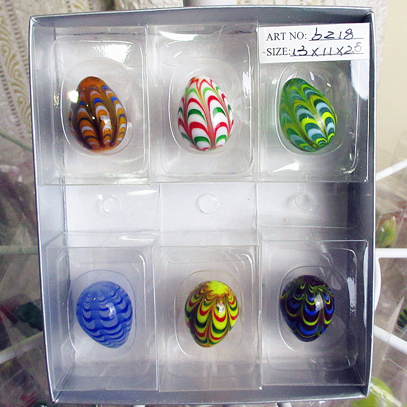 Wholesale manufacturers hand blown glass ornaments Home Furnishing Easter egg model sculpture garden landscape egg accessories(China (Mainland))