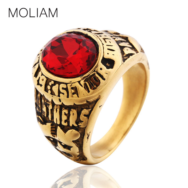 MOLIAM Vintage Yellow Stainless Steel Finger Rings Men Punk Style Partner Letter Ring with Imitation Ruby Gemstone Jewelry BR052(China (Mainland))