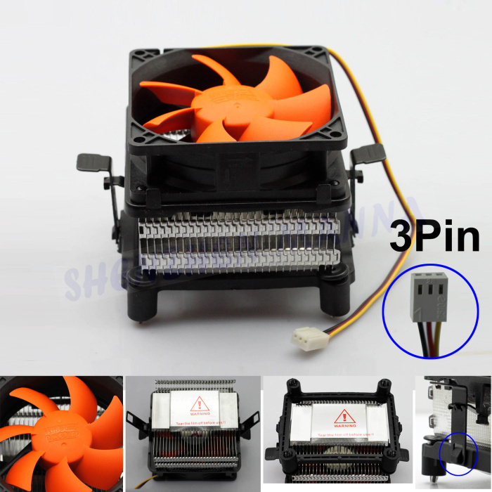 FREE SHIPPING Q82 Orange 3PIN 12V CPU COOL COOLING HEATSINK PC COOLER FAN SUPPORT Intel/AMD 1PC FS043(China (Mainland))