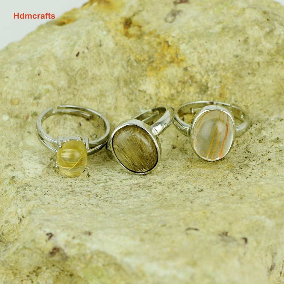 Raw 100% real natural golden Rutliated Crystal Quartz Ring Adjustable 925 sterling silver fashion personalized wedding gift idea - Hdmcrafts Chinese Unique Handmade or Natural store
