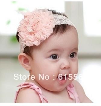 10pcs/lot baby Headbands hairband headwear big pink rose flowers elastic white chiffon headband ,Kids Hair Ornaments