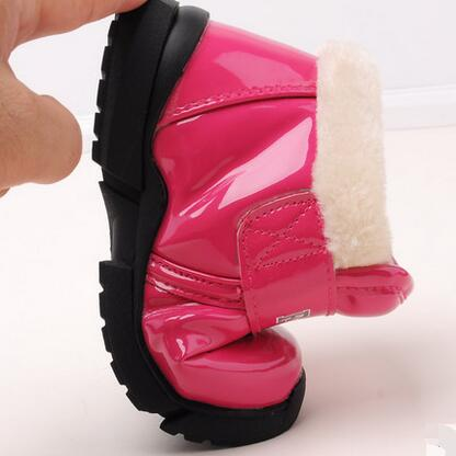 Fashion PU leather winter children cotton snow shoes boys short boots girls waterproof boots to keep warm between snow boots