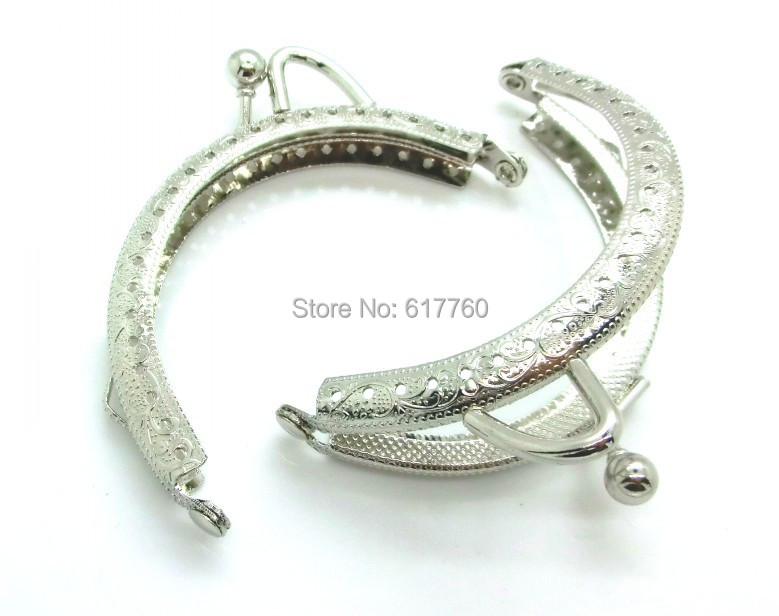 Free Shipping-5PC Metal Frame Kiss Clasp Arch For Purse Bag Silver Tone Ball 8.5cm x 5.5cm (Can Open Size:9.5cm x 8.5cm),J2581(China (Mainland))