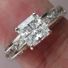 Vintage Jewelry Real 14K White Gold Genuine 1 Carat NSCD Lab Diamond Ring for Women Diamond Wedding Engagement Ring (China (Mainland))