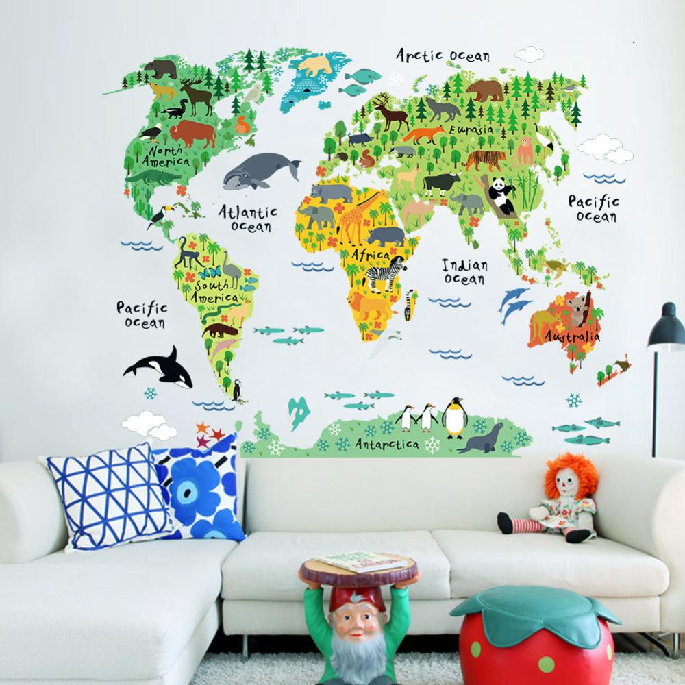 Vinyl Animal World Map Wall Sticker For Kids Rooms Bedroom Decor Pegatinas De