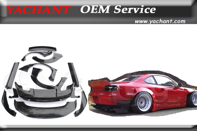 Car-Styling Fiber Glass FRP Bodykit Fit For 89-94 180SX RPS13 Rocket Bunny Wide Body Style Bumper Fender Spoiler Diffuser Kits(China (Mainland))