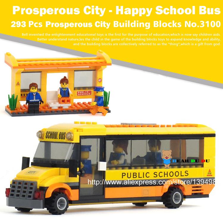 293Pcs New City Yellow School Bus Action Minifigures DIY Assemblage Building Blocks Figures Toys Bricks Compatible Brand(China (Mainland))