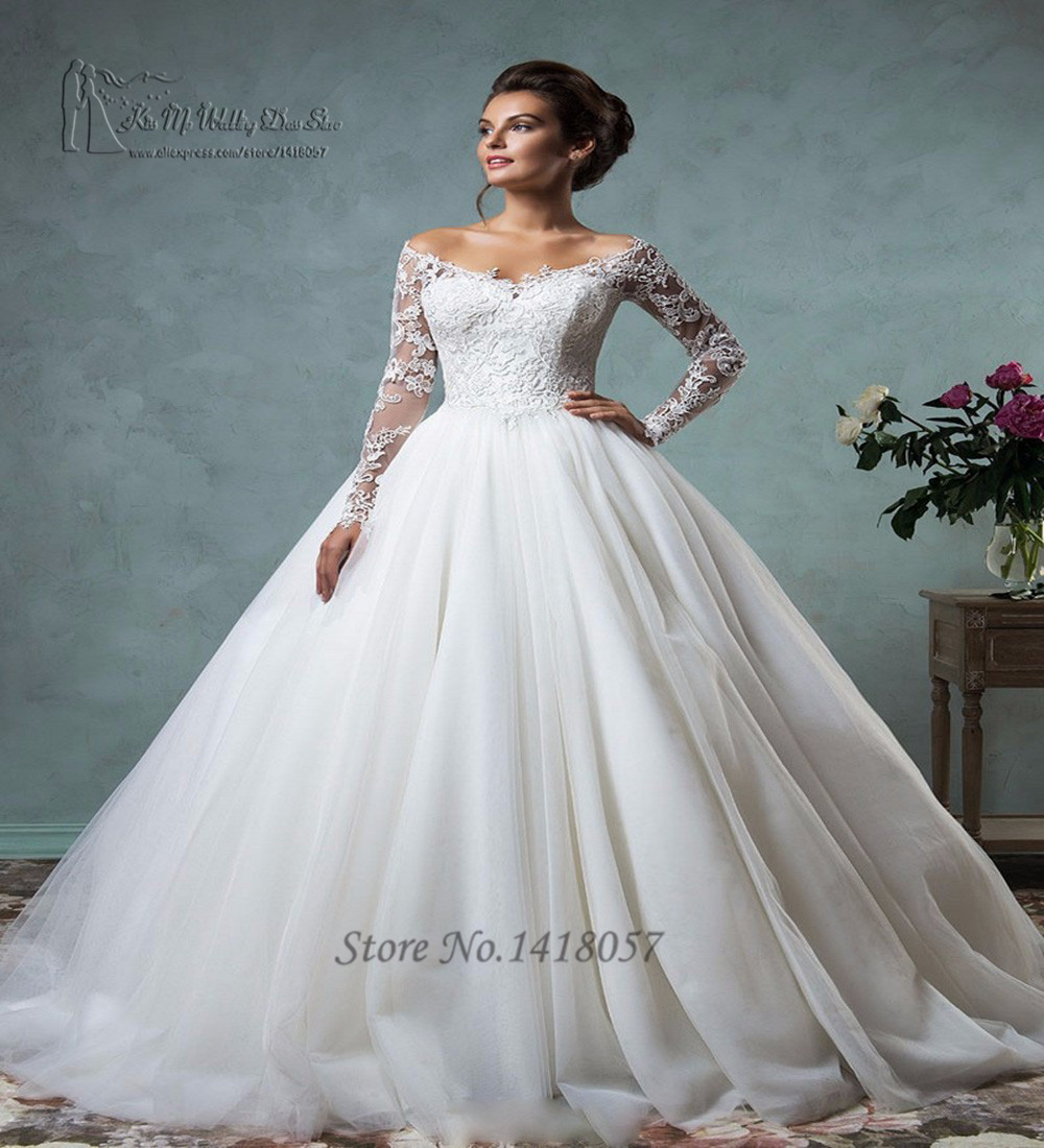 Hot sell white long sleeve lace wedding dresses ball gown for Long sleeve white lace wedding dress