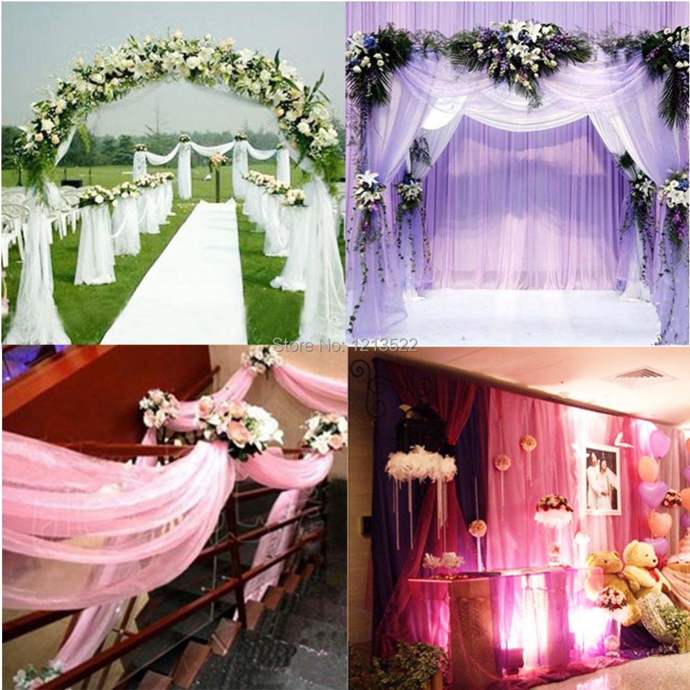 1000CM*75CM Sheer Organza Roll Wedding Chair Sash Bow Table Runner Swag Decor(China (Mainland))