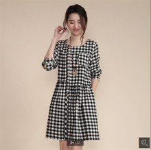 Korean Style 2016 Spring Autumn New Fashion Women Tartan Dress Leisure Loose Big yards Sexy Long sleeve Round collar Dress T0670