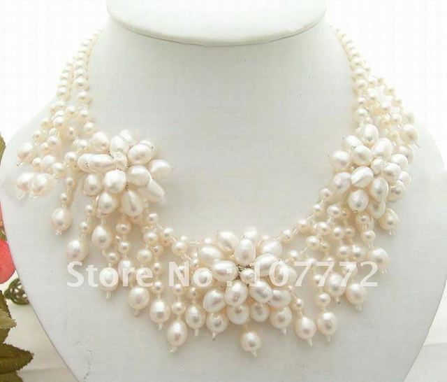Charming! White Round  Rice Pearl Necklace