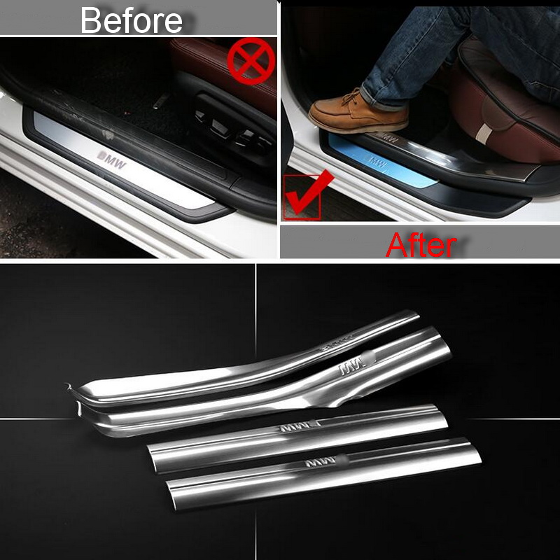 4 PCS Car New DIY stainless steel built threshold light strip cover case for bmw 1 2 3 4 series 218i part accessories<br><br>Aliexpress