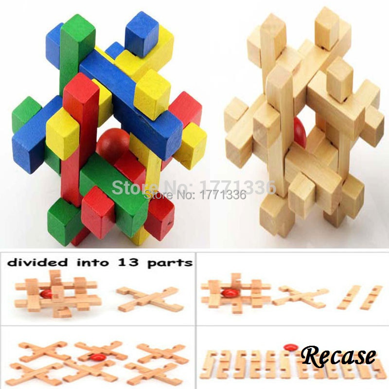 2015 New Creative Puzzle Toys With Ball Inside Multicolor Complicated Wood Brain Teasers For Grownups & Kids ZH-5(China (Mainland))