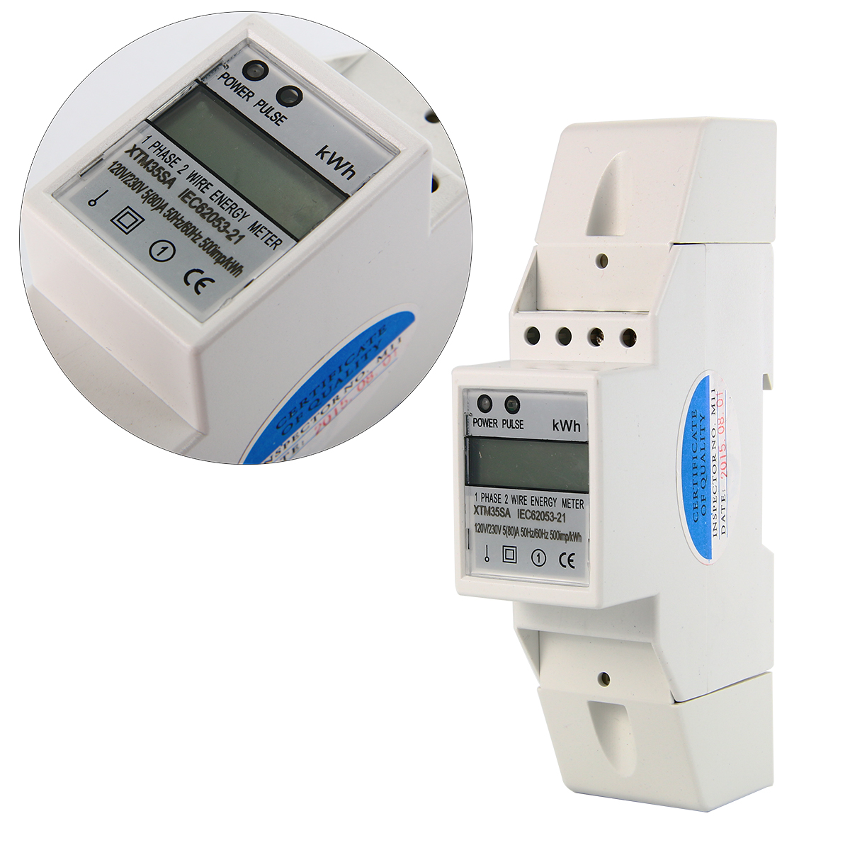 Digital Kwh Meter : Digital lcd v a single phase din rail electricity kwh