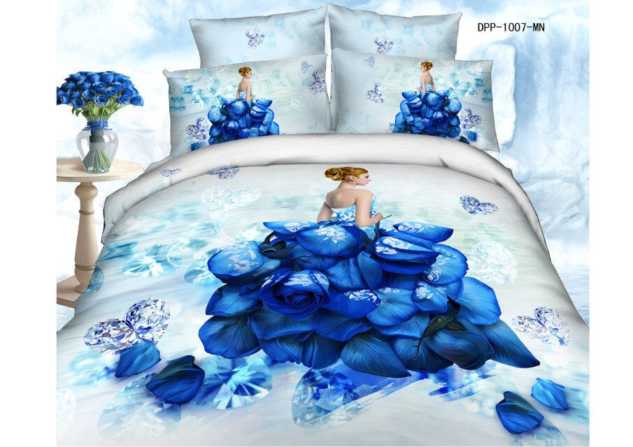 3d blue/red Rose bed sheet set 100 cotton bedcover Queen king size animal/Flower bedding sets girl duvet cover without comforter - myloves household items store