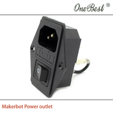 High quality 3D printer accessories 110V/220V 15A Makerbot power outlet with switch and fuse free shipping