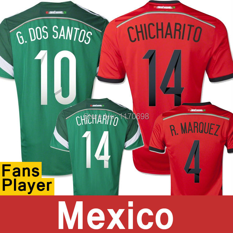 Top Thailand Quality Mexico jersey 2014 world cup Mexico Jersey chicharito Home Away soccer jersey mexico football shirts(China (Mainland))