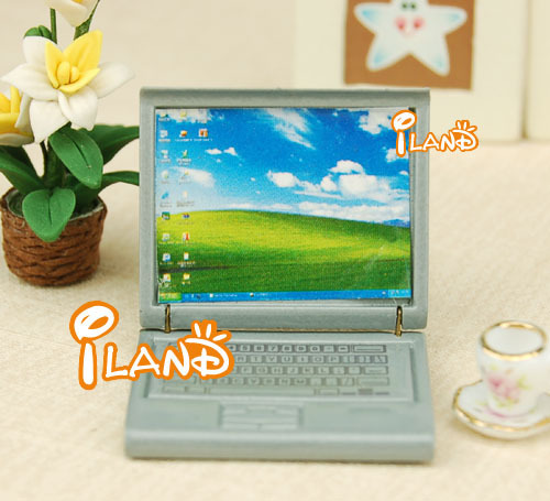 1/12 Dollhouse Miniature Grey Plastic Laptop Notebook Computer