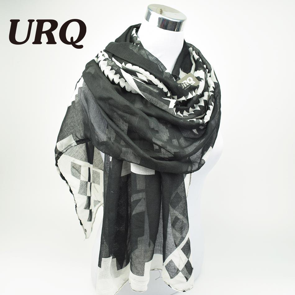 Bohemian Geometry Cotton Scarves 90*180cm Woman Long Viscose Voile Scarves Black Ladies Shawl Wraps V9A18439(China (Mainland))