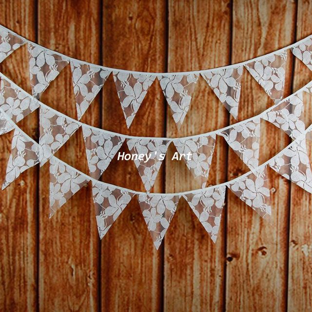 32m 12 flags vintage wedding bunting decoration mariage photo prop cream lace fabric garland vintage - Aliexpress Decoration Mariage