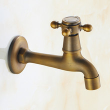 Free Shipping Retro Style Antique Bronze Finish Handle Washing Machine Faucet Bibcocks Cold Water Tap Wall Mount GYD-2703F(China (Mainland))