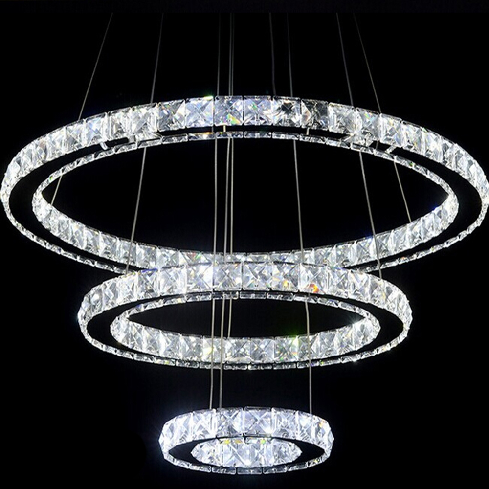 Buy 3 rings crystal led chandelier light fixture crystal lig - Suspension et lustre ...
