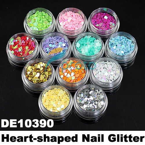 12 Pots of Colorful Heart Shape Glitter Flakes Decoration for 3D Nail Art Beauty SKU:D0038