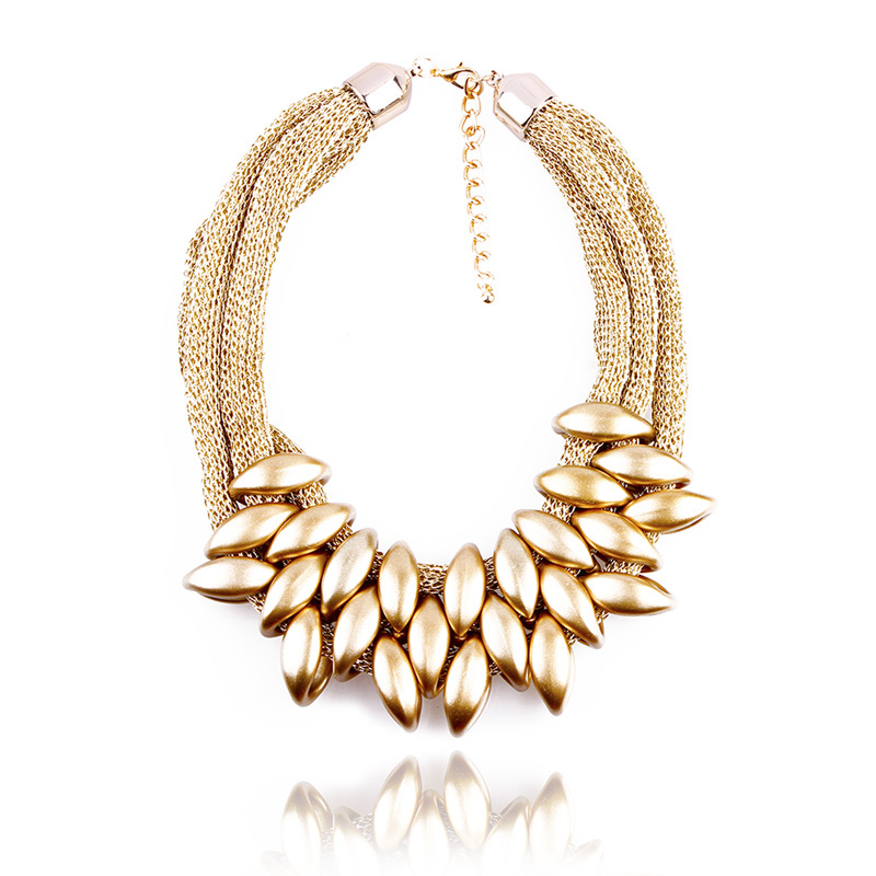 N035 HOT Women Punk Gold Acrylic Waterdrop Pendant Close Knit Multilayer Twist Chain Chunky Choker Necklaces Gift #2030(China (Mainland))