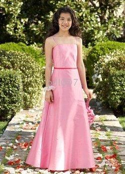A-line Spaghetti Straps Floor- Length Flower Girl Dresses 2009 Style SKU510146