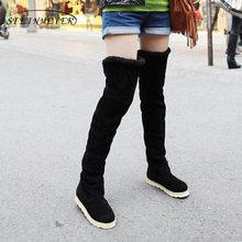 Akın kar botları kadın flats yüksek diz çizmeler artı kadife ayakkabı Kore versiyonu çizmeler ile kürk 2018 kış siyah gri sarı kahverengi(China)