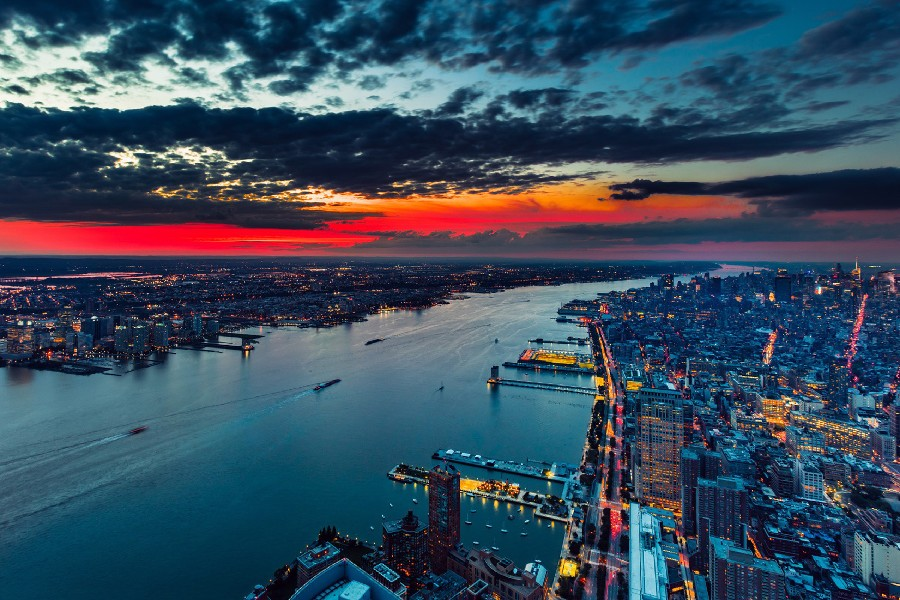 New York City Manhattan Hudson River Sunset Evening Landscape Scenery Poster Fabric Silk Poster Print Great Pictures On The Wall(China (Mainland))