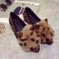New Falts women s shoes Leopard pointed flat with shallow mouth rabbit Loafers soft bottom casual