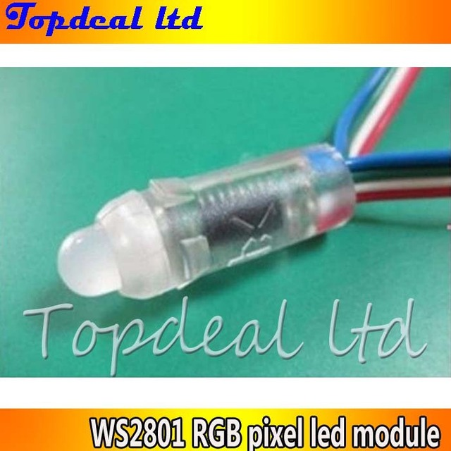 12mm WS2801 pixel module,IP68;DC5V input;full color;50pcs a string free shipping