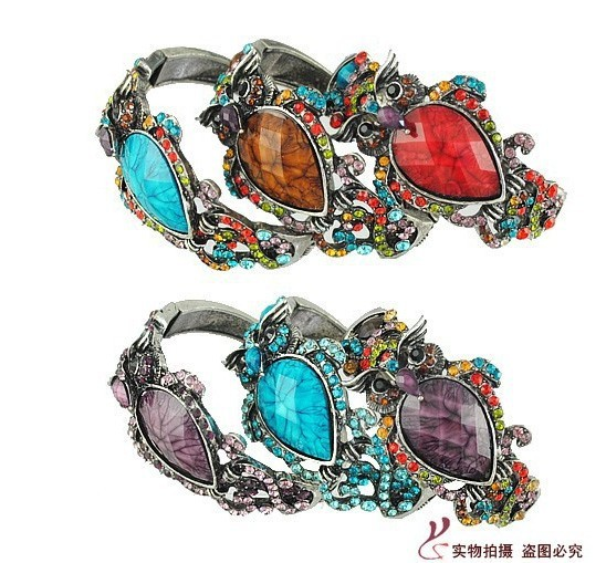 Free Shippin 1 lot/5pieces European vintage style hollow out jewelry bangle bracelet owl bangle fashion accessories