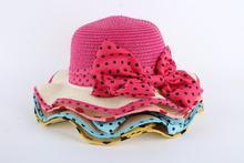 2-6Years Children Kids Girls Sun Hats Princess Bowknot Baby Straw Summer Beach Hat Kids Girls Wide Brim Hat/Cap Brand New(China (Mainland))
