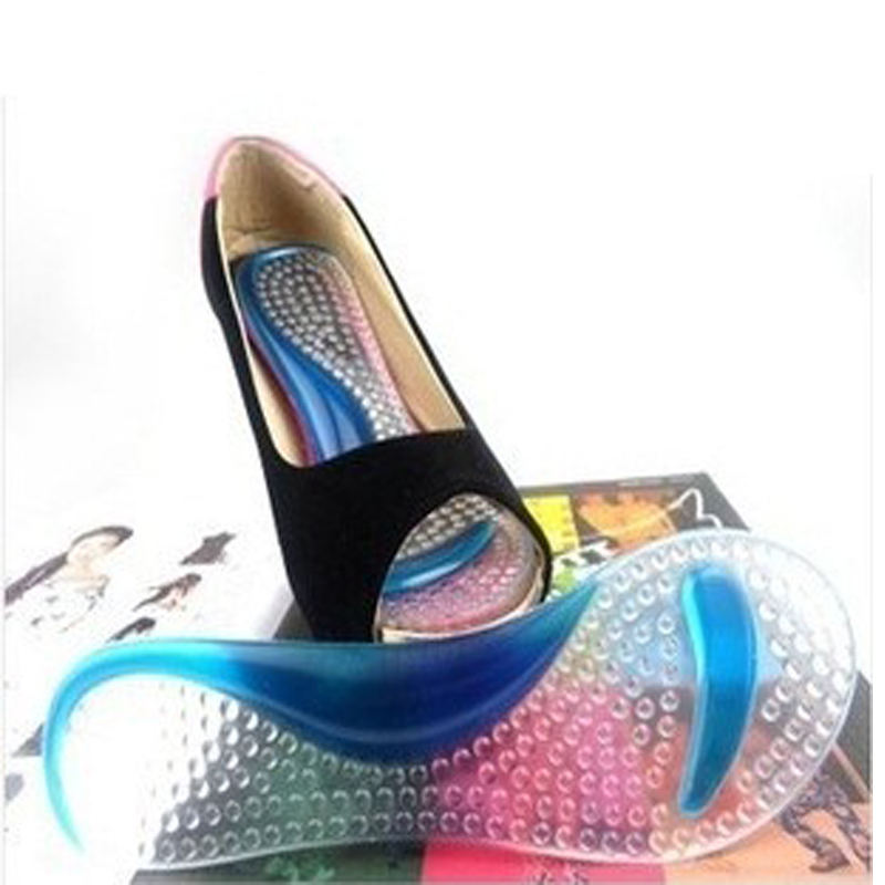 s silicone gel flat foot arch support insole high