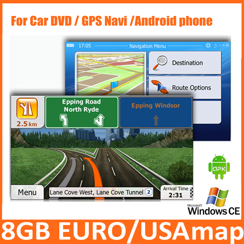 8GB Micro SD Card Car GPS Map software including the Android APK with europe,USA,italy,canada,france