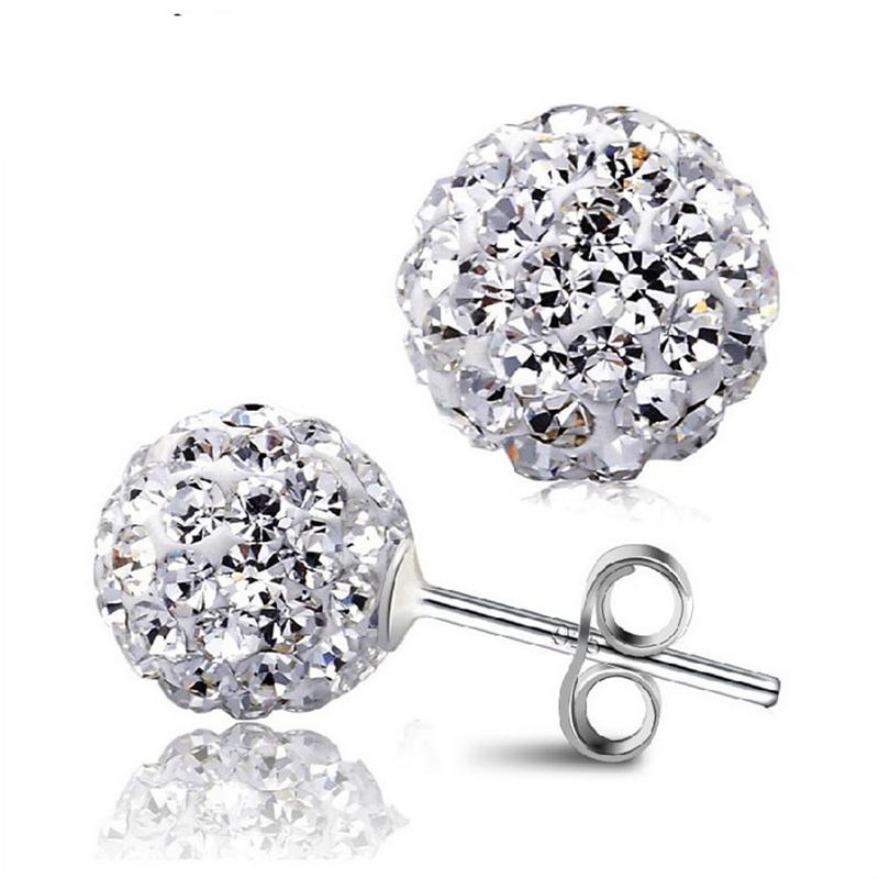 10 Color 8 MM Shamballa Earrings Micro Disco Ball Shamballa Round CZ Stud Earrings For Women Girls Fashion Jewelry Wholesale(China (Mainland))