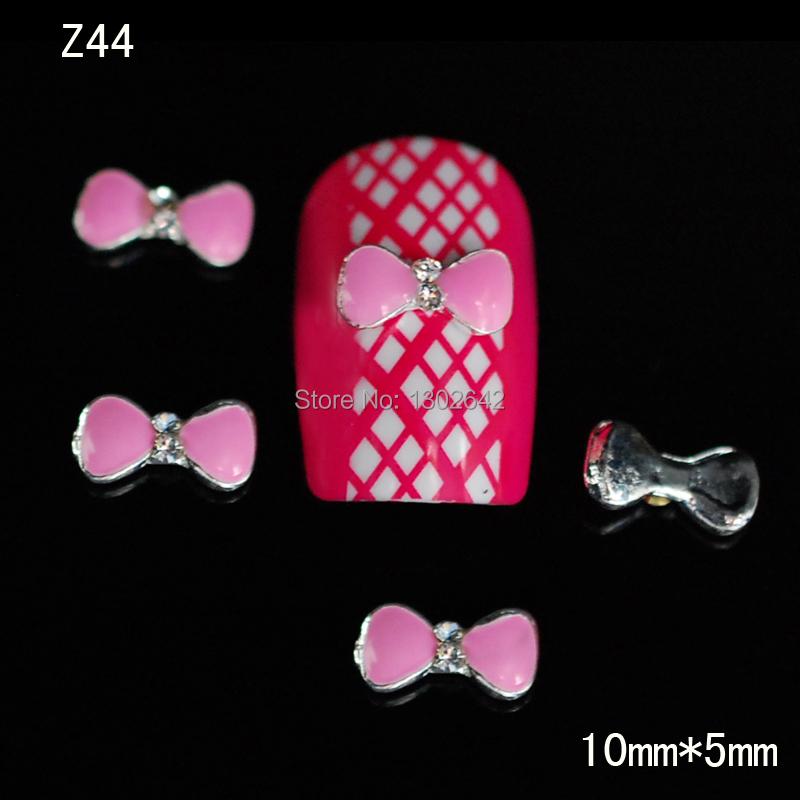 Z44 10pcs/lot New Rhinestone Pink Bow Nail Art DIY Sticker 3D Nail Accessories Fashion Nail Jewelry 3Colors(China (Mainland))