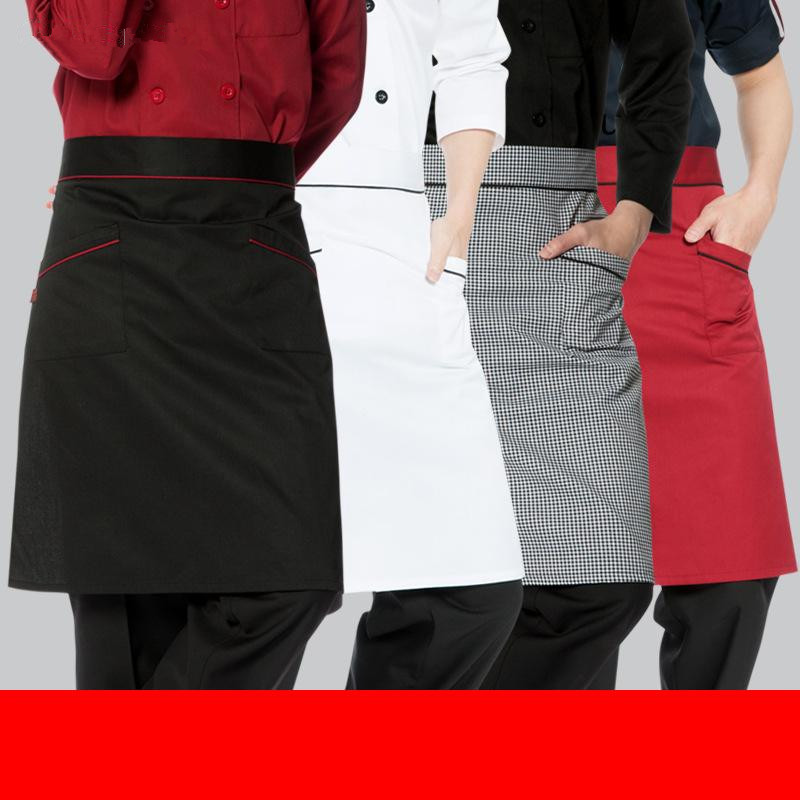 Korean men's half chef apron cute coffee restaurant Home cooking kitchen aprons white custom work wear wholesales free shipping(China (Mainland))
