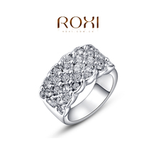 1PCS Free Shipping! Full Austrian Crystal Wide Fashion Ring for Women White gold Plated Jewelry