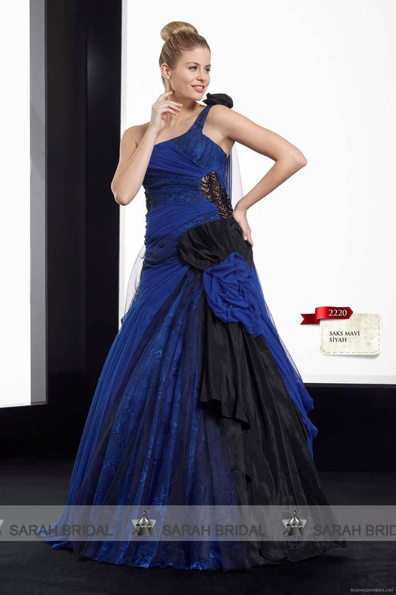 Royal blue and black gothic wedding dresses one shoulder for Blue and black wedding dresses